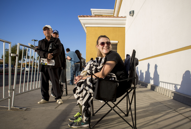 Brie Koester, Black Friday sale shopper, waits outside of the Best Buy on the cross streets of North Rainbow Blvd and West Lake Mead Blvd, Thursday, Nov. 24, 2016, Las Vegas. Elizabeth Page Brumle ...