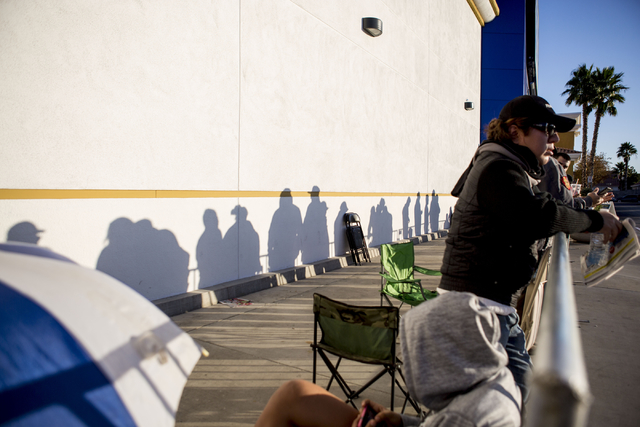 Black Friday sale shoppers wait outside of the Best Buy on the cross streets of North Rainbow Blvd and West Lake Mead Blvd to shop, Thursday, Nov. 24, 2016, Las Vegas. Elizabeth Page Brumley/Las V ...