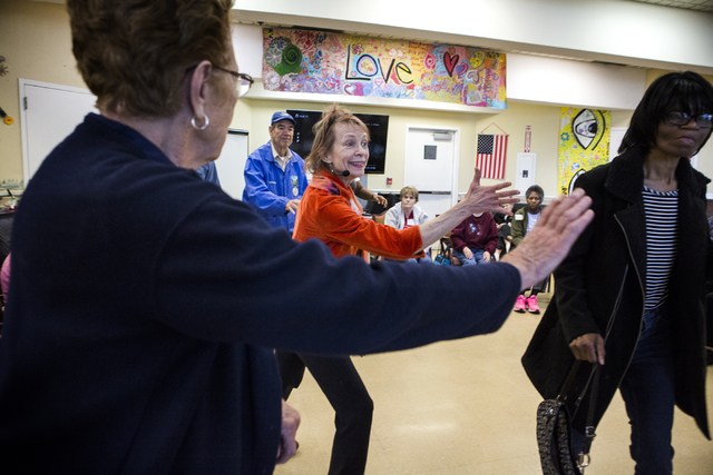 Dance instructor Margaret Rampey, center, conducts an exercise class at Nevada Senior Services Adult Day Care Of Las Vegas, 901 N. Jones Blvd. on Tuesday, Nov. 22, 2016.  Jeff Scheid/Las Vegas Rev ...