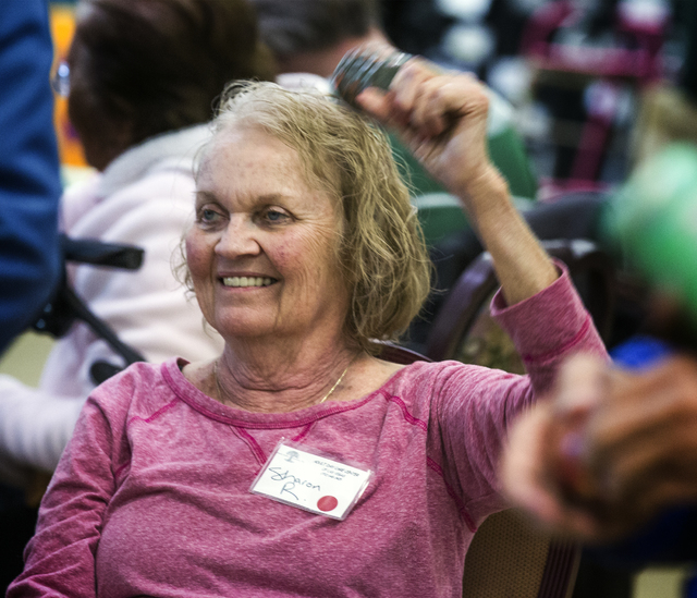 Client Sharon Reynolds smiles during a dance class at Nevada Senior Services Adult Day Care Of Las Vegas, 901 N. Jones Blvd. on Tuesday, Nov. 22, 2016.  Jeff Scheid/Las Vegas Review-Journal Follow ...