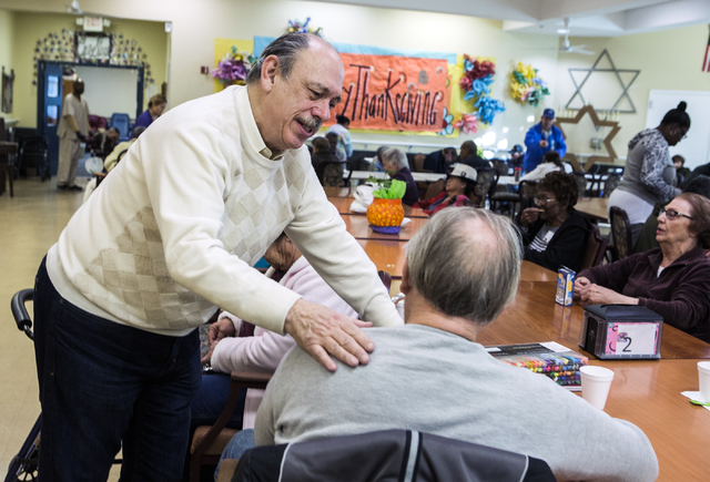 Jeffrey Klein, president & CEO of Nevada Senior Services, talks to clientMichael Cooper at Nevada Senior Services Adult Day Care Of Las Vegas, 901 N. Jones Blvd. on Wednesday, Nov. 22, 2016. T ...