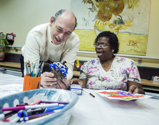 Jeffrey Klein, president & CEO of Nevada Senior Services, talks to client Paulette Francis at Nevada Senior Services Adult Day Care Of Las Vegas, 901 N. Jones Blvd. on Wednesday, Nov. 22, 2016 ...