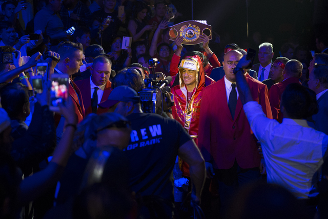 Jessie Vargas walks to the boxing ring for his fight against Manny Pacquiao in the welterweight WBO World Title bout at the Thomas & Mack Center on Saturday, Nov. 5, 2016, in Las Vegas. Pacqui ...
