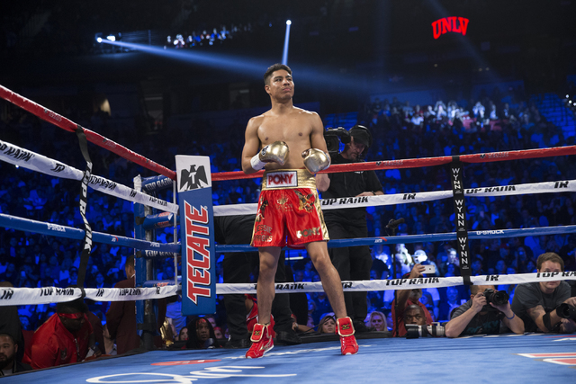 Jessie Vargas gets ready for the start of his fight against Manny Pacquiao in the welterweight WBO World Title bout at the Thomas & Mack Center on Saturday, Nov. 5, 2016, in Las Vegas. Pacquia ...