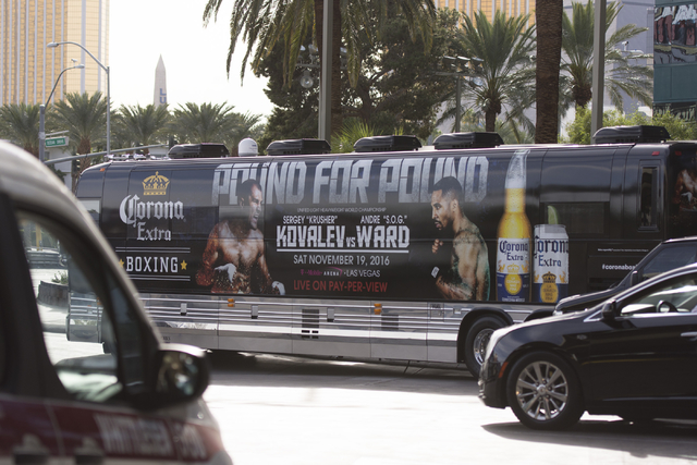 A bus advertising the Nov. 19 fight for the Unified Light Heavyweight World Championship title between boxers Sergey Kovalev and Andre Ward is seen at the MGM Grand hotel-casino in Las Vegas, Tues ...