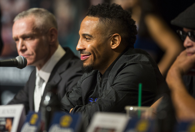 Andre Ward smiles during a press conference at the MGM Grand hotel-casino in Las Vegas on Thursday, Nov. 17, 2016. Ward is scheduled to fight Sergey Kovalev at the T-Mobile Arena this Saturday. (C ...