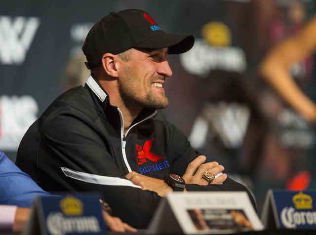 Sergey Kovalev smiles during a press conference at the MGM Grand hotel-casino in Las Vegas on Thursday, Nov. 17, 2016. Kovalev is scheduled to fight Andre Ward at the T-Mobile Arena this Saturday. ...