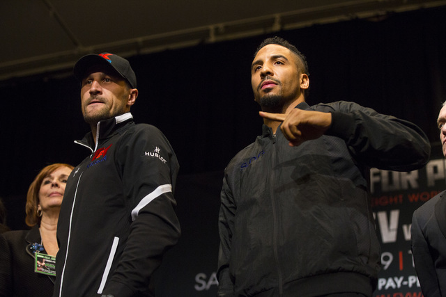 Sergey Kovalev, left, and Andre Ward pose for a photo during a press conference at the MGM Grand hotel-casino in Las Vegas on Thursday, Nov. 17, 2016. Ward and Kovalev are scheduled to fight at th ...