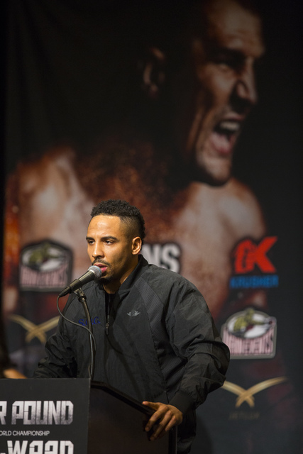 Andre Ward speaks during a press conference at the MGM Grand hotel-casino in Las Vegas on Thursday, Nov. 17, 2016. Ward is scheduled to fight Sergey Kovalev at the T-Mobile Arena this Saturday. (C ...