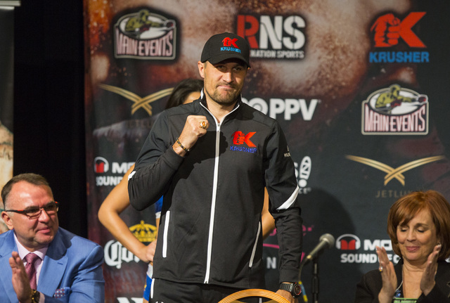 Sergey Kovalev motions t the crowd during a press conference at the MGM Grand hotel-casino in Las Vegas on Thursday, Nov. 17, 2016. Kovalev is scheduled to fight Andre Ward at the T-Mobile Arena t ...
