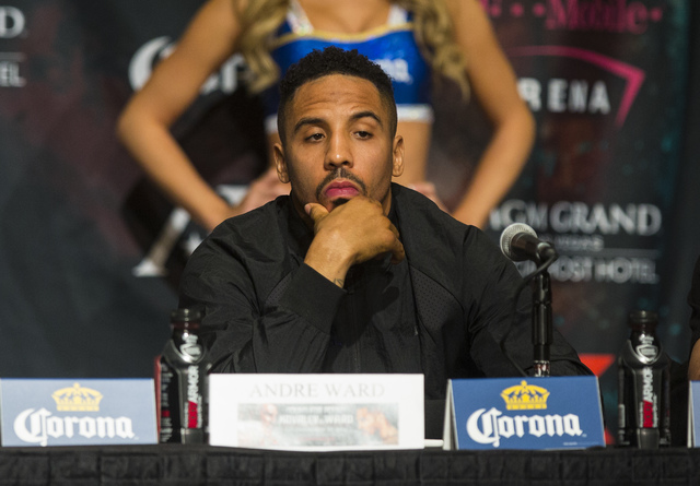 Andre Ward looks on during a press conference at the MGM Grand hotel-casino in Las Vegas on Thursday, Nov. 17, 2016. Ward is scheduled to fight Sergey Kovalev at the T-Mobile Arena this Saturday.  ...