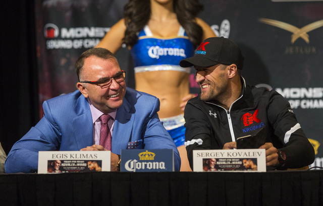 Manager Egis Klimas, left, talks with Sergey Kovalev during a press conference at the MGM Grand hotel-casino in Las Vegas on Thursday, Nov. 17, 2016. Kovalev is scheduled to fight Andre Ward at th ...