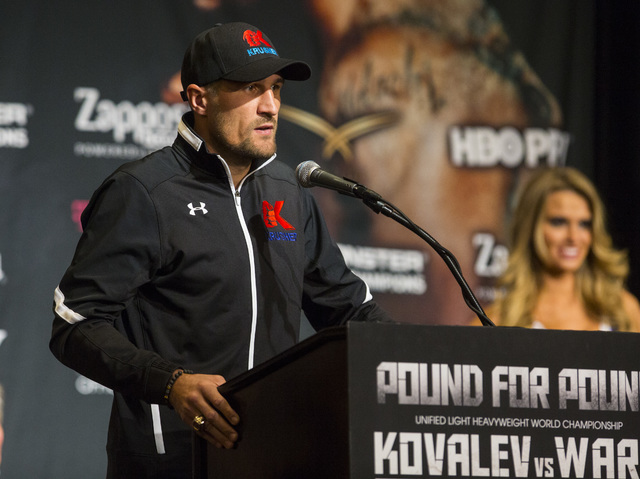 Sergey Kovalev speaks during a press conference at the MGM Grand hotel-casino in Las Vegas on Thursday, Nov. 17, 2016. Kovalev is scheduled to fight Andre Ward at the T-Mobile Arena this Saturday. ...