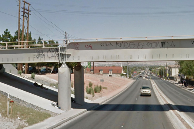 A woman was hospitalized after being struck by a train on this bridge above Owens Avenue. (Google Street View)
