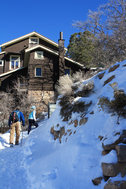 Hikers head up to the trailhead along the more challenging Bright Angel Trail. (Deborah Wall/Special to View)