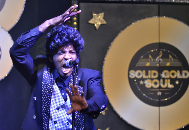 Greg Debonaire Laster performs as James Brown in Solid Gold Soul in the Windows Showroom at Bally's hotel-casino at 3645 Las Vegas Blvd. South in Las Vegas on Sunday, Oct. 30, 2016. Bill Hughes/La ...