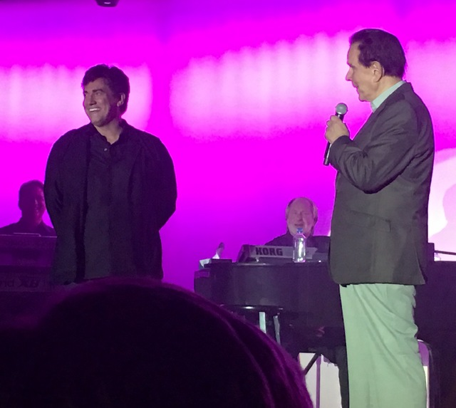 Rich Little joins Gordie Brown during Brown's final performance at Golden Nugget on Sunday, Nov. 27, 2016. (John Katsilometes/Las Vegas Review-Journal)