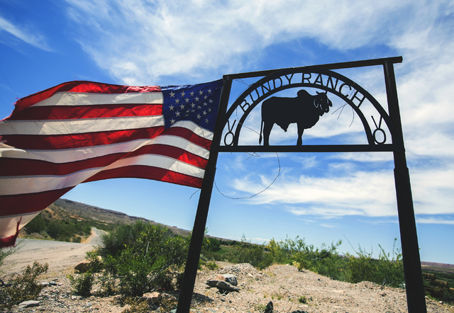 A Bundy Ranch sign near Bunkerville greets visitors on Thursday, May 19, 2016. (Jeff Scheid/Las Vegas Review-Journal) Follow @jlscheid