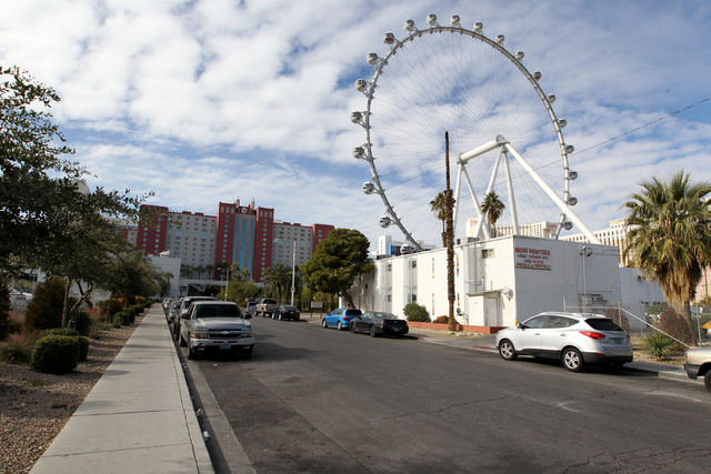 Free street parking on Albert Avenue adjacent to The Linq in Las Vegas on Wednesday, Nov. 30, 2016. Caesars Entertainment Corp. announced Tuesday it will begin phasing in a paid parking initiative ...