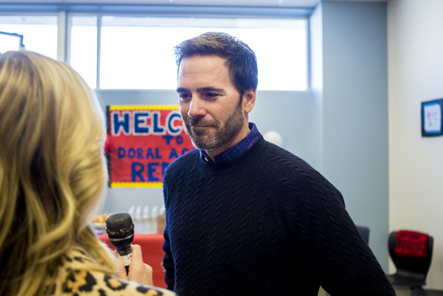 Jimmie Johnson, reigning NASCAR Sprint Cup Series Champion, is interviewed at Doral Academy Red Rock - Upper/High School on Wednesday, Nov. 30, 2016, Las Vegas. Elizabeth Page Brumley/Las Vegas Re ...
