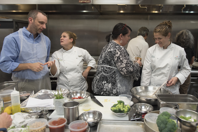 Kerri Dotson, chef and registered dietitian with the Goldring Center for Culinary Medicine at Tulane University, second from left, and Leah Sarris, chef and program director with the Goldring Cent ...