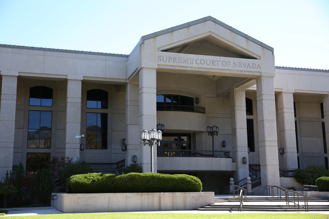 The Nevada Supreme Court building is pictured in Carson City, Nev., Saturday, October 8, 2016. (David Guzman/Las Vegas Review-Journal) Follow @davidguzman1985