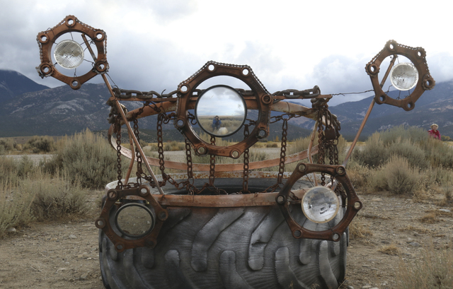 A sculpture depicting the constellation Cassiopeia sits along state Route 488 between the town of Baker and Great Basin National Park. The piece was among several removed last week by state road w ...