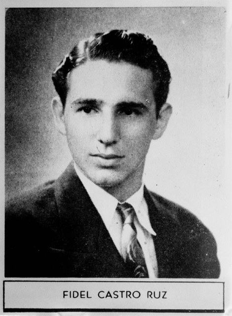 "The caption describing Fidel Castro in his 1945  high school yearbook reads: ""Distinguished student and a fine athlete.  Very popular.  Will study law and we have no doubt he will have a  ..."