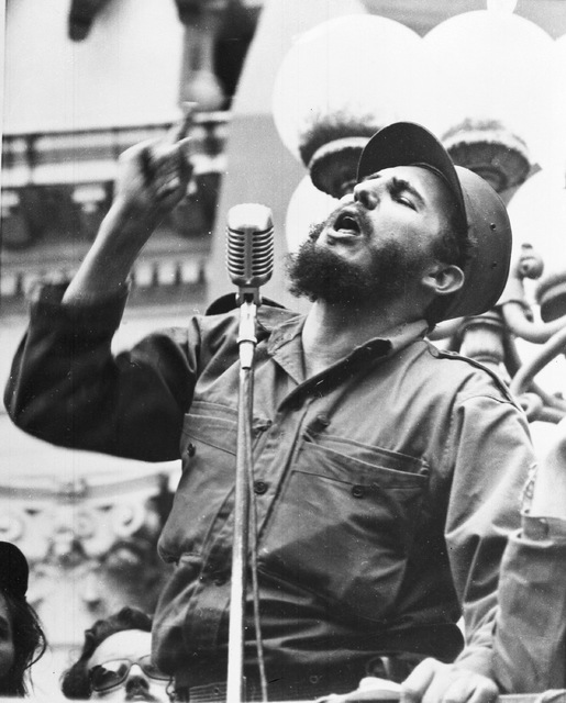 Fidel Castro, Cuba's new revolutionary leader, speaks to a crowd during his triumphant march to Havana,  after the fall of the Batista regime, Feb. 6, 1959. (AP Photo)
