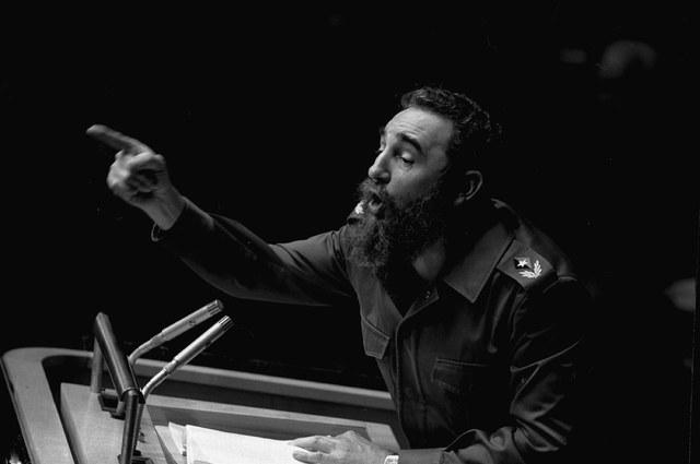 Cuban President, Fidel Castro, points during his lengthy speech before the United Nations General Assembly, in New York in 1979. (AP Photo/Marty Lederhandler, File)