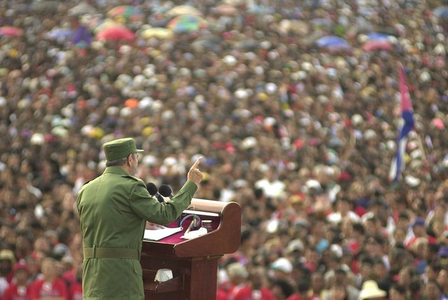 Cuban President Fidel Castro delivers a speech during a rally in Santiago, Cuba, in 2002. (AP Photo/Cristobal Herrera, File)