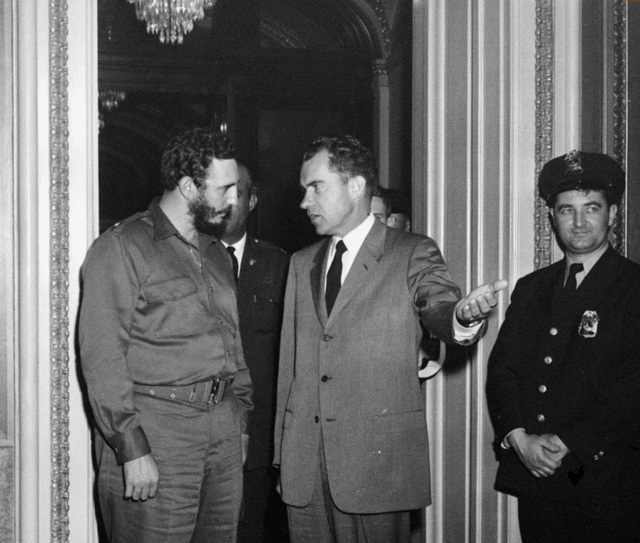 Vice President Richard Nixon and Cuban Prime Minister Fidel Castro leave Nixon's office in Washington, D.C., April 19, 1959, after a two hour and 20 minute chat behind closed doors. (AP Photo)