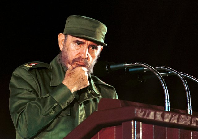 Cuban President Fidel Castro pauses during a speech in Matanzas 60 miles east of  Havana, Cuba Tuesday Aug. 3, 1999. (AP Photo/Jose Goitia)