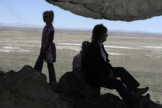 Nicole Thompson, left, and Vivian Olds are seen inside the opening of Spirit Cave on April 19, 2006, where the body of Spirit Cave Man was found near Fallon, Nev. (Reno Gazette-Journal, Marylin Ne ...
