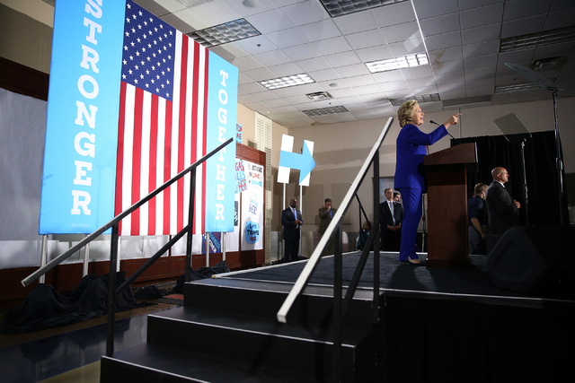 Democratic presidential nominee Hillary Clinton speaks during a campaign rally at the Plumbers & Pipefitters Training Center on Wednesday, Nov. 2, 2016, in Las Vegas. Erik Verduzco/Las Vegas R ...