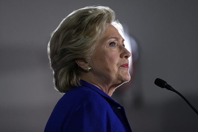 Democratic presidential nominee Hillary Clinton pauses in her speech during a campaign rally at the Plumbers & Pipefitters Training Center on Wednesday, Nov. 2, 2016, in Las Vegas. Erik Verduz ...