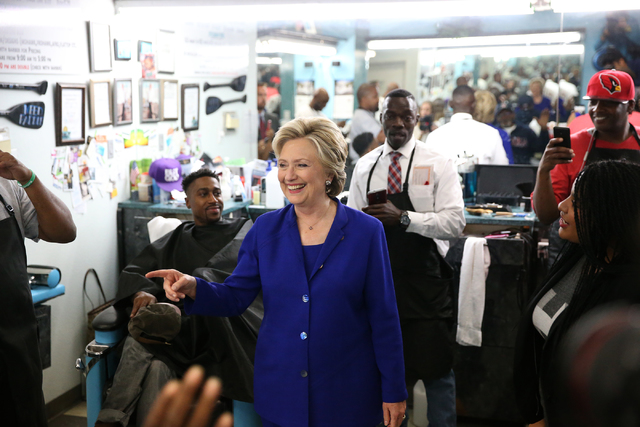 Democratic presidential nominee Hillary Clinton visits the Love's Barbershop during a campaign tour on Wednesday, Nov. 2, 2016, in North Las Vegas. Erik Verduzco/Las Vegas Review-Journal Follow @E ...
