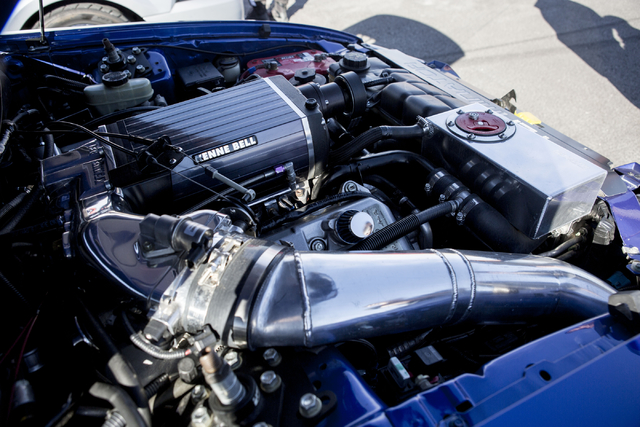 The engine of a 2003 Ford Cobra Terminator is pictured Saturday, Nov. 26, 2016, during the pop up event, Cars and Coffee, which meets every Saturday morning at SPEEDVEGAS in Las Vegas. Elizabeth P ...