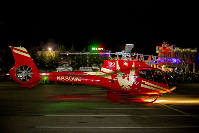 Santa arrives for the 25th annual tree lighting ceremony at Opportunity Village in a helicopter, Friday, Nov. 25, 2016, Las Vegas. Elizabeth Page Brumley/Las Vegas Review-Journal Follow @ELIPAGEPHOTO