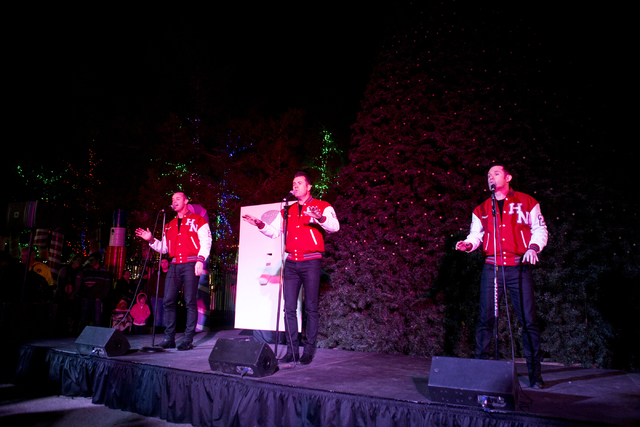 Human Nature preforms during the 25th annual tree lighting ceremony at Opportunity Village in a helicopter, Friday, Nov. 25, 2016, Las Vegas. (Elizabeth Page Brumley/Las Vegas Review-Journal) Foll ...