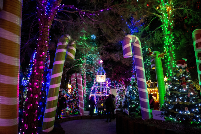 People enjoy the Magical Forest at Opportunity Village, Friday, Nov. 25, 2016, Las Vegas. (Elizabeth Page Brumley/Las Vegas Review-Journal) Follow @ELIPAGEPHOTO