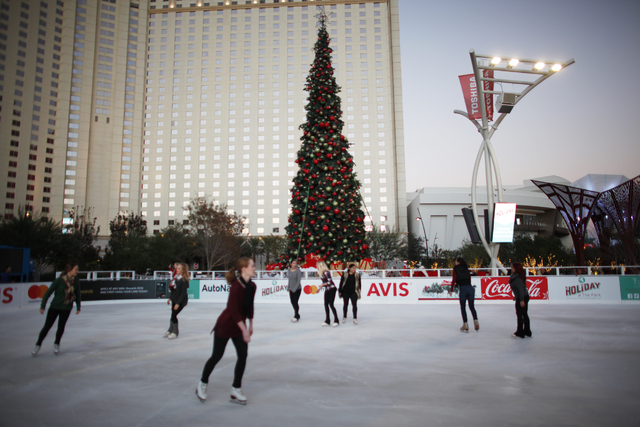 Ice skaters skate at the ice rink on Monday, Nov. 21, 2016, at The Park in Las Vegas. Rachel Aston/Las Vegas Review-Journal Follow @rookie__rae