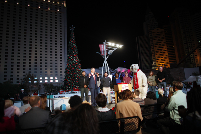 MGM CEO Jim Murren greets the crowd on Monday, Nov. 21, 2016, at the tree lighting ceremony at The Park in Las Vegas. Rachel Aston/Las Vegas Review-Journal Follow @rookie__rae