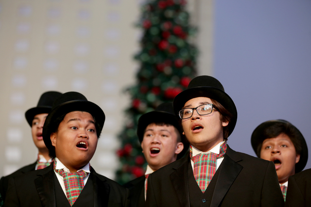 Carolers from the Las Vegas Academy sing on Monday, Nov. 21, 2016, at the tree lighting ceremony at The Park in Las Vegas. Rachel Aston/Las Vegas Review-Journal Follow @rookie__rae