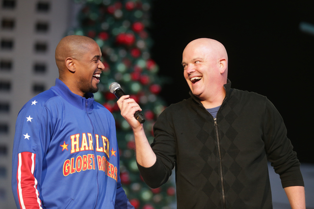 Scooter Christensen of the Harlem Globetrotters talks with radio personality Chet Buchanan on Monday, Nov. 21, 2016, at the tree lighting ceremony at The Park in Las Vegas. Rachel Aston/Las Vegas  ...
