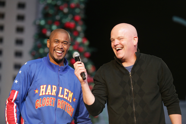 Scooter Christensen of the Harlem Globetrotters laughs with radio personality Chet Buchanan on Monday, Nov. 21, 2016, at the tree lighting ceremony at The Park in Las Vegas. Rachel Aston/Las Vegas ...