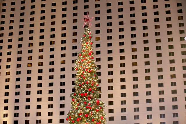 The 60-foot holiday tree is seen on Monday, Nov. 21, 2016, at The Park in Las Vegas. Rachel Aston/Las Vegas Review-Journal Follow @rookie__rae