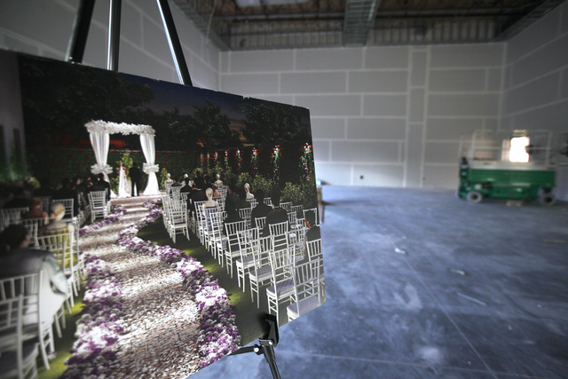 The Madrigal room and a rendering of the adjacent future dolce Garden Plaza is seen on Wednesday, Nov. 16, 2016, at Enclave, a multi-purpose event center in Las Vegas. Rachel Aston/Las Vegas Revie ...