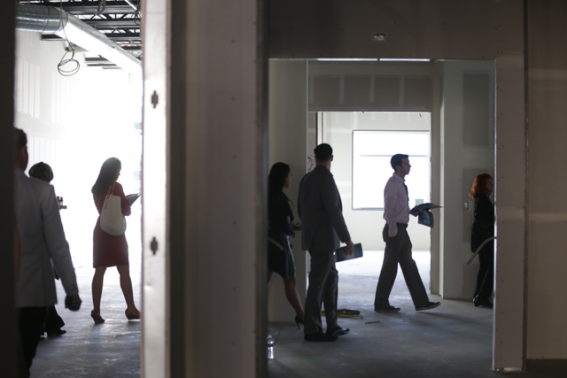 Members of the media walk through breakout rooms on a tour of Enclave, a multi-purpose event center, on Wednesday, Nov. 16, 2016, in Las Vegas. Rachel Aston/Las Vegas Review-Journal Follow @rookie ...