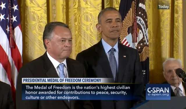Las Vegas resident Turk Cobell stands with President Barack Obama as a Presidential Medal of Freedom citation is read for his late mother, Native American activist Elouise Cobell, during a star-st ...
